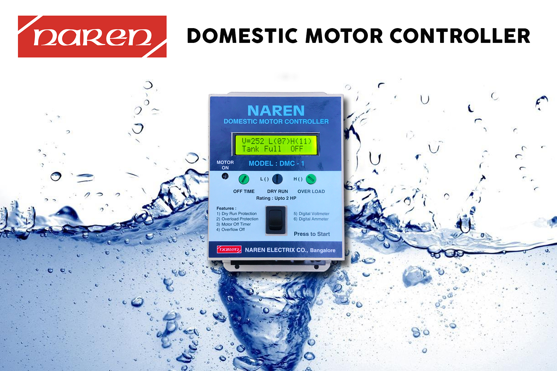 Domestic Water Level Controller with Off Timer & Overflow Sensor